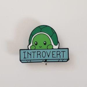 🐢2/$15 Cute Turtle Introvert Pin